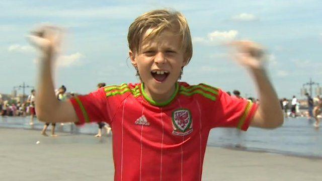 Wales child football fan