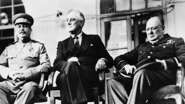 Left to right: Stalin, Roosevelt and Churchill