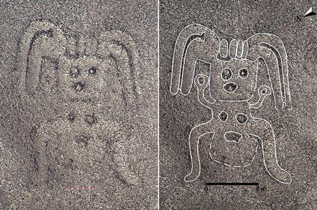 หนึ่งในภาพลายเส้นที่ค้นพบใหม่มีโครงสร้างคล้ายรูปมนุษย์