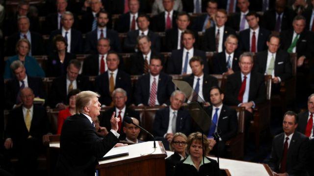 上下両院合同会議を前にするトランプ大統領