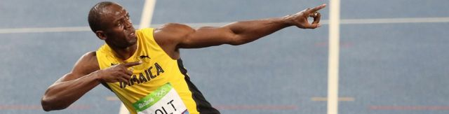 Usain Bolt doing his typical stance after winning the 200 metre final