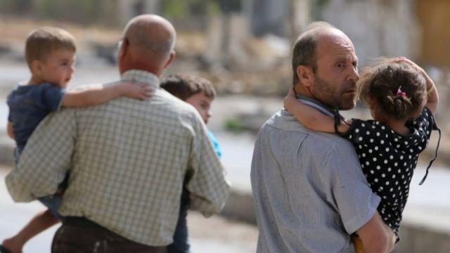 Familias en Alepo
