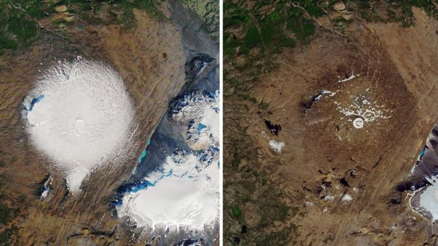 NASA Earth Observatory satellite images show Okjokull glacier in 1986, and its remains in 2019