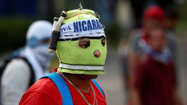 Manifestante en Nicaragua.