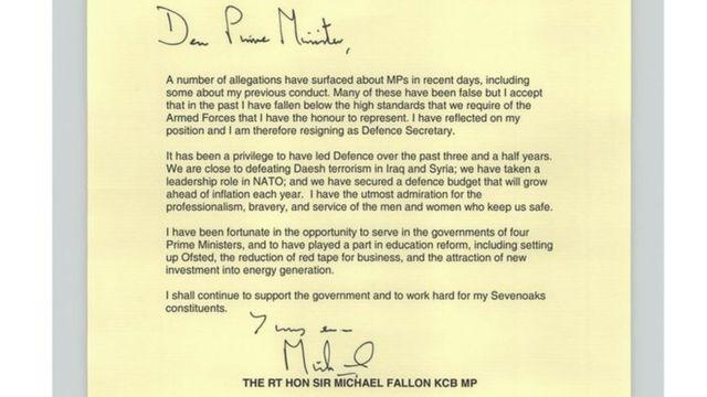 Sir Michael Fallon's resignation letter