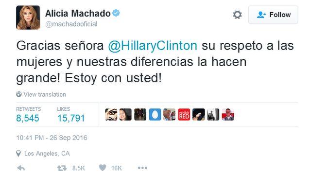 Tuíte de Alicia Machado