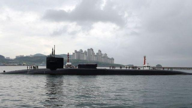 El submarino estadounidense USS Michigan estacionado en Corea del Sur.