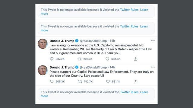 特朗普的三条推文被删除(Credit: Twitter)