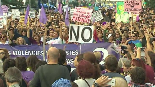 Thousands march against violence against women in Madrid