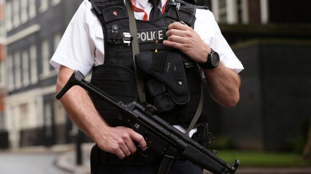 Armed UK police officer with automatic rifle