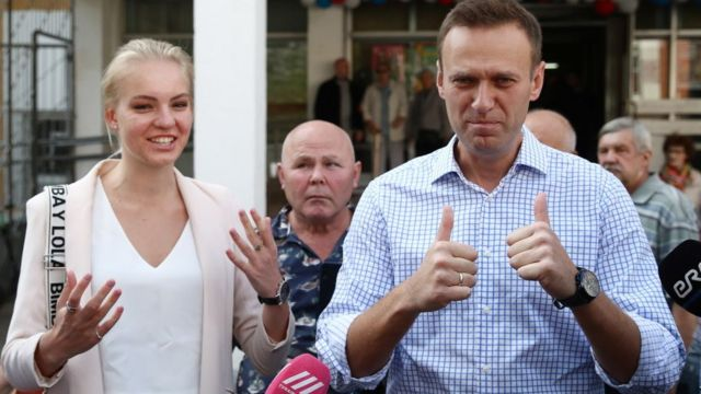 Dasha Navalny with Alexei Navalny on the day of elections to the Moscow City Duma in September 2019