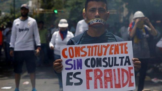 Protesta contra la Constituyente en Venezuela