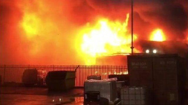 Fire at a plastics manufacturer in Lancashire filmed by John Farrell