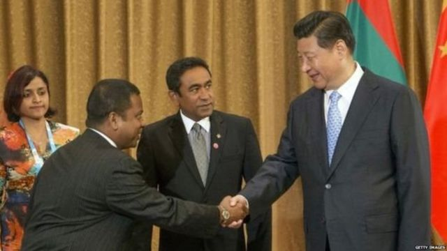 चीन के राष्ट्रपति के साथ मालदीव के राष्ट्रपति यामीन