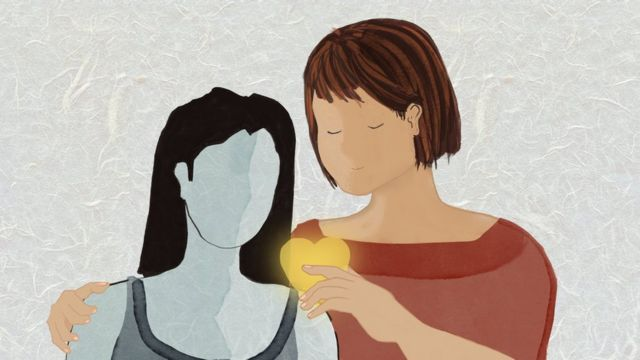 An illustration showing a counsellor consoling a victim