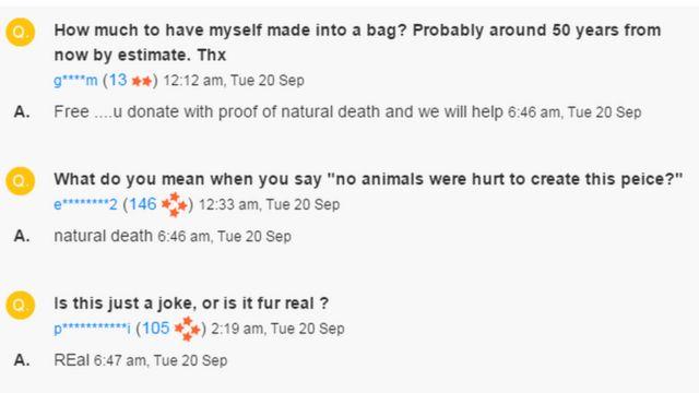 Comentários no site TradeMe
