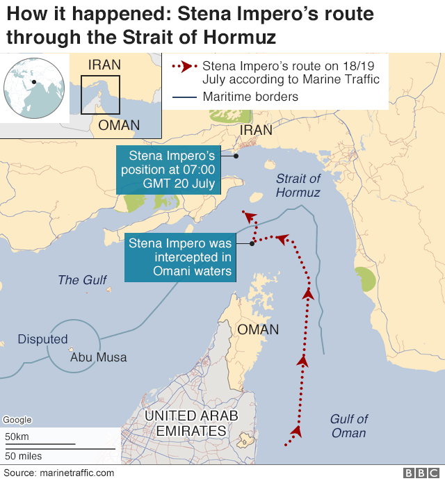 Map: Location of Stena Impero in Strait of Hormuz