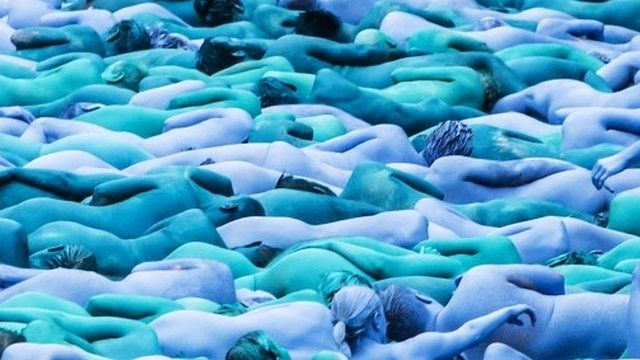People taking part in Spencer Tunick's installation in Hull