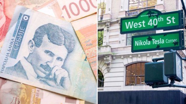 Nota de 100 dinares, moeda sérvia, e cruzamento em Nova York