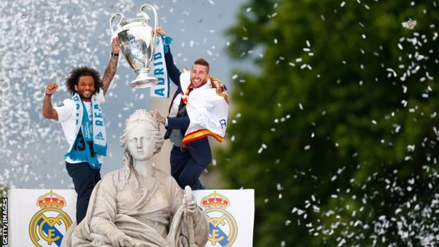 Captain Sergio Ramos and Marcelo led celebrations in Madrid