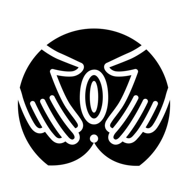 A black ink illustration depicting an open vulva