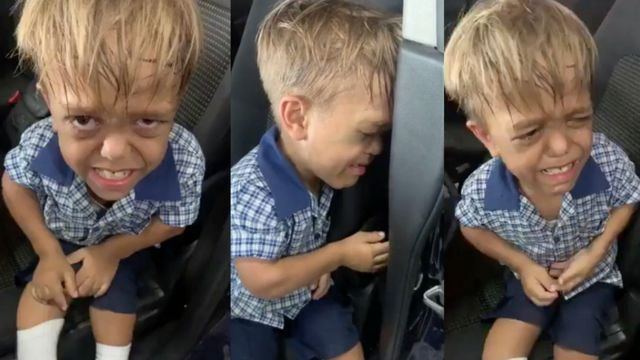 Quaden crying in his car seat