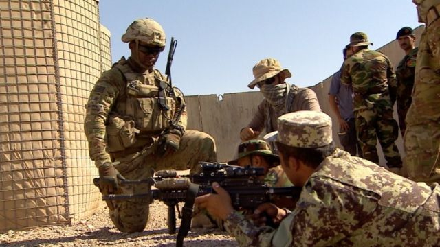 US troops train Afghan army in Helmand in 2016