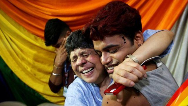 A joyful reaction to the ruling at an NGO in Mumbai