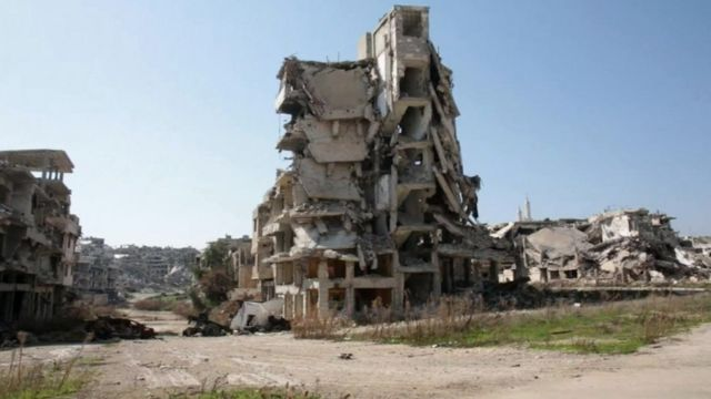 Destroyed buildings in the besieged Damascus suburb of Darayya