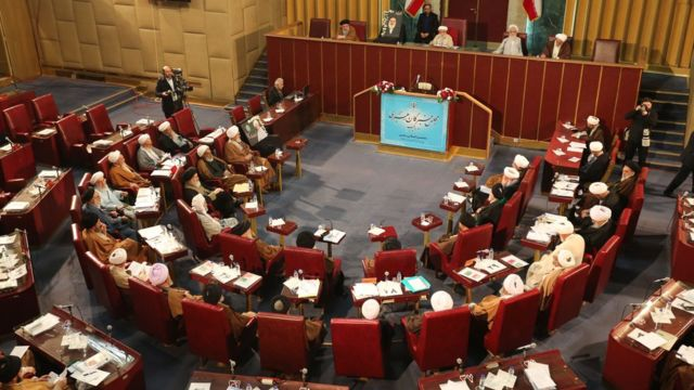 Members of Iran's Assembly of Experts attend a session in Tehran on 12 March 2019