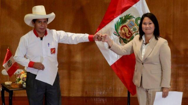 Pedro Castillo and Keiko Fujimori