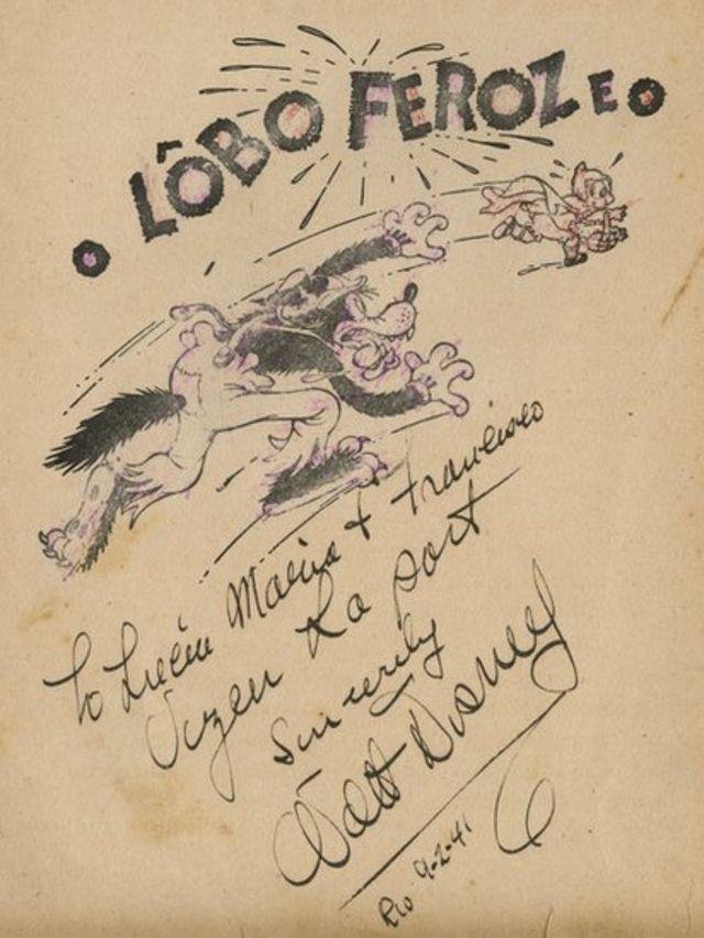 Firma de Walt Disney sobre un ejemplar del lobo feroz.