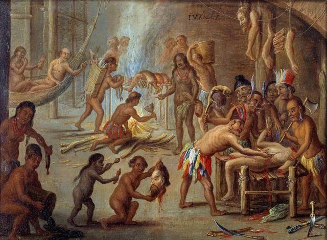 Escena de canibalismo en Brasil en 1644. Indios devorando a sus enemigos y prisioneros. Pintura de Jan van Kessel llamado el Viejo (1626-1679).