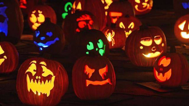 Jack-o'-lanterns are displayed at the 'Rise of the Jack OLanterns' exhibition, featuring more than 5,000 hand-carved, illuminated pumpkins created by professional artists and sculptors in La Canada Flintridge