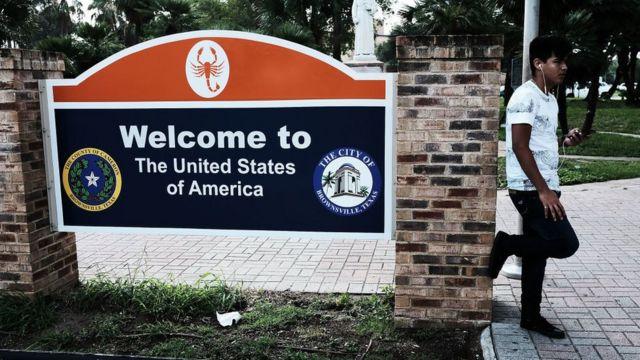 sinal de bem vindo aos EUA