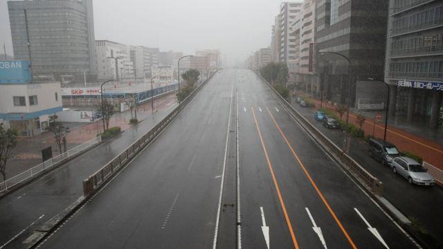 Empty motorway in Yokohama