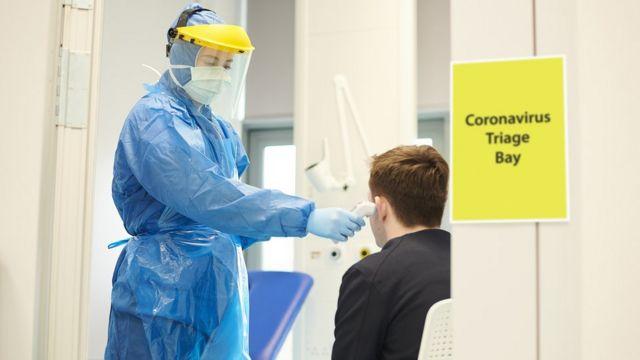 Health worker testing for corona virus