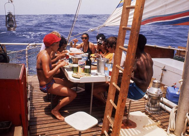 Communal meal on board the Acali