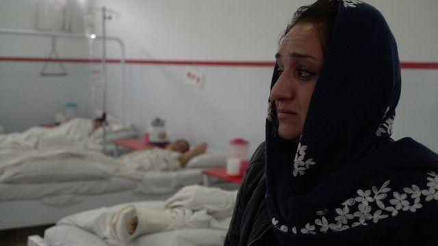 Shakila Ebrahimkheil visits bomb victims