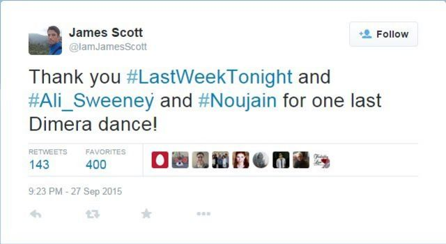"James Scott tweet from 27 September: ""Thank you #LastWeekTonight and #Ali_Sweeney and #Noujain for one last Dimera dance!"""