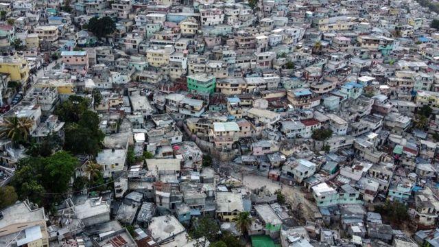 Aerial view of a neighborhood in Port-au-Prince, Haiti.