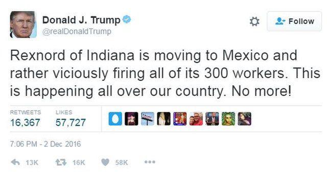 Donald Trump's tweet criticising Indiana firm Rexnord