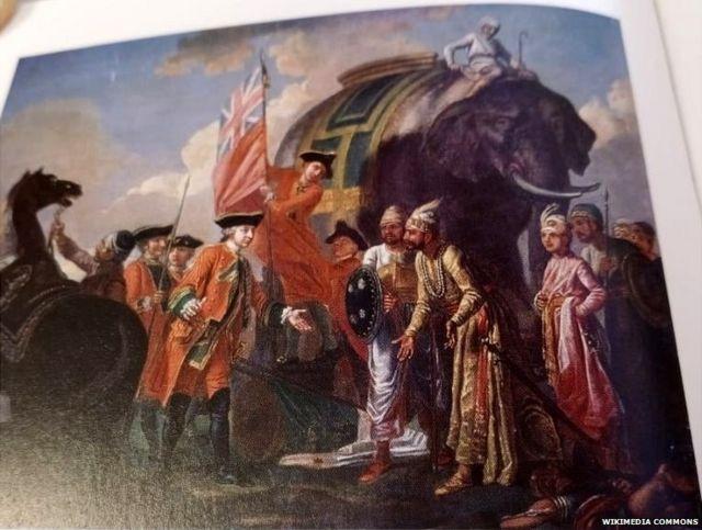 পলাশীর যুদ্ধের পর মীর জাফর ও রবার্ট ক্লাইভের দেখা করার চিত্র (১৭৬০)