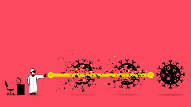 Illustration showing a healthcare professional firing a kind of lightning bolt that passes through three coronavirus molecules.