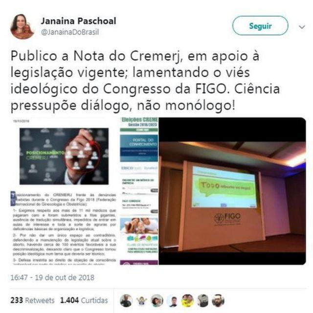 """Tweet de Janaína Paschoal que diz: """"Publico a Nota do Cremerj, em apoio à legislação vigente; lamentando o viés ideológico do Congresso da FIGO. Ciência pressupõe diálogo, não monólogo!"""""""