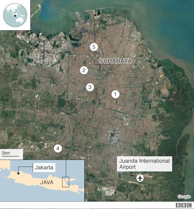 BBC graphic showing location of five recent terror attacks in East Java