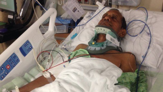 Sureshbhai Patel lies in hospital after the incident