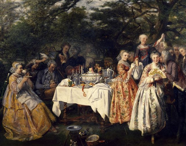 Picnic in the countryside, in the garden of an inn on the outskirts of Strasbourg, ca 1750, by Theophile Schuler (1821-1878).