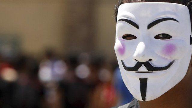Man wearing Anonymous mask