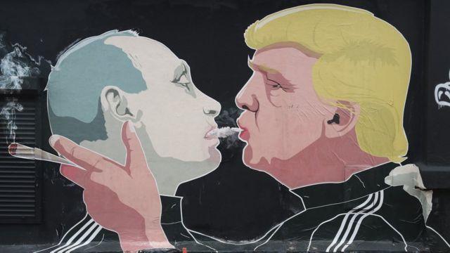 Donald Trump və Vladimir Putinin divar rəsmi (Litva)